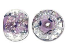 #legendaryinspiration  Unicorne Beads Small Purple Swirl and Silver Bubbles Dichroic Boro Glass Large Hole Bead