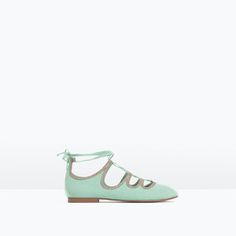 Image 2 of ZIPPED LACE-UP BALLERINAS from Zara