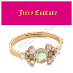 """Juicy Couture Pear Cut Hinged Bangle Bracelet NWT comes with satin pink pouch. Faceted crystals bring regal shine to this Juicy Couture bracelet. Hinged, oblong design. Push lock clasp, gold plated. Measurements width: 1"""" inch 2.5 cm diameter no tradesno paypal Juicy Couture Jewelry Bracelets"""
