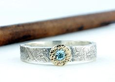 Aztec Sun Ring, Sterling Silver and 14k Solid Gold Ring, Sky Blue Topaz Ring, Optional Engraving, Personalized Jewelry , 4mm