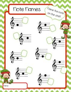 ELVES NOTE NAME WORKSHEETS - TeachersPayTeachers.com