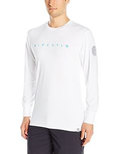Rip Curl Mens Dawn Patrol Uv Tee Long Sleeve Rashguard White S ** For more information, visit image link.
