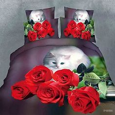 Ostrosi Hiigh quality 3D Rose Kitty Floral Double Size Bedding Set Sheet Duvet Cover Pillowcase  Cat Themed Home Decor – How to Have the Purrfectly Decorated Home  They are fun, cute, silly not to mention entertaining.  Cats are all that and more why is why I love cat themed home decor.    This is a whimsical, eclectic and cute way to decorate your home.    You will apprecaite this stylish, popular and often fun abstract cat home decor.  Cat bedroom decor cat kitchen decor cat livi