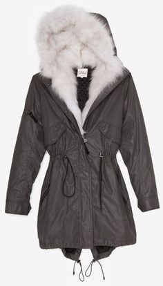 Sam. Exclusive Hooded Fur Inset Jacket Grey - Lyst