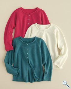 Cotton & Cashmere Sophia Cardigan, lake--Garnet Hill Kids $59