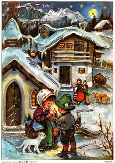 Illustrated by Anita Rahlwes, Cute N Country, Vintage Country, Christmas Figurines, Vintage Cat, Vintage Christmas Cards, Vintage Postcards, Childhood Memories, Cats And Kittens, Christmas Time