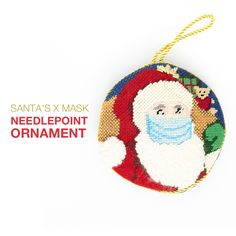 #Holiday #ornaments often reflect the current events of the past year, so we've designed this ornament canvas with a lighthearted twist on a traditional holiday theme. 🎅🏻 🎄 #Stitch this needlepoint ornament canvas, featuring the life event that your family has endured this year. #Santa has assured us that he will be extra safe when delivering your packages this holiday season! Needlepoint Designs, Needlepoint Kits, Needlepoint Canvases, Holiday Themes, Holiday Traditions, Holiday Decor, Santa Face, Holiday Ornaments, Current Events