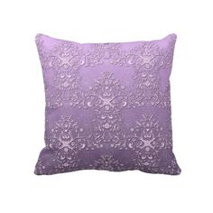 Fancy Lavender and Purple Two Tone Damask Throw Pillow
