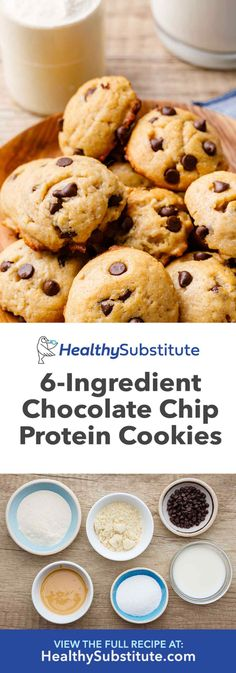 Almond Flour Chocolate Chip Protein Cookies – Healthy Substitute More from my siteBest-Ever Almond Flour Chocolate Chip Cookies Protein Chocolate Chip Cookies, Protein Powder Cookies, Cookies Healthy, Protein Powder Recipes, Chocolate Protein Powder, Healthy Chocolate, Keto Cookies, Healthy Desserts, Protein Recipes
