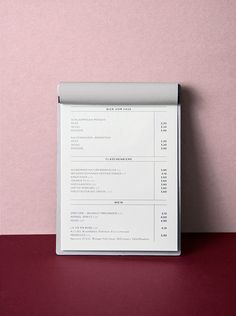 DAS KOLIN Menu Restaurant, Restaurant Design, Restaurant Identity, Menu Layout, Print Layout, Stationery Design, Branding Design, Packaging Design, Cafe Design