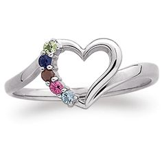 Adorable sterling silver heart shaped ring for Mom or Grandma features up to 7 birthstones.