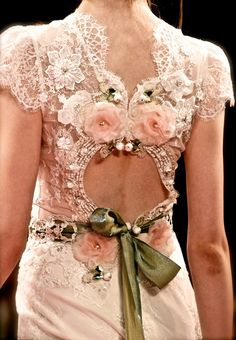 Claire Pettibone, Spring 2013, ivory beaded lace bodice & linen skirt with pink & green jeweled keyhole back.