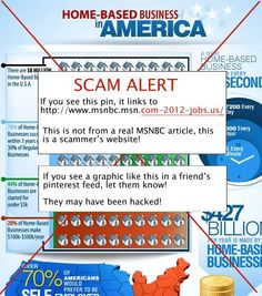 """Another """"Work From Home"""" fake pin.  If you see a graphic like this in a friend's pinterest feed, let them know.  They may have been hacked."""