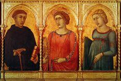 Pietro Lorenzetti (Siena 1280 - 1348) - Tre Santi: San Benedetto, Santa Caterina d'Alessandria e Santa Margherita - 1315 - Museo Horne - Firenze. Inseriti in una cornice moderna, forse facevano parte di un presunto Polittico di Monticchiello.