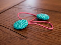 Pair of Floral Mint Green Fabric Covered Button Hair Ties (see my other listings for more variations)