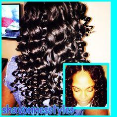 Lace closure. Wand curls