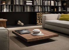 Excellent Minimalist DIY Wooden Furniture That Will Enhanced Your Living Room Low Coffee Table, Solid Wood Coffee Table, Coffee Table Design, Unique Wood Furniture, Table Furniture, Contemporary Furniture, Casa Milano, Center Table Living Room, Fireplace Bookshelves