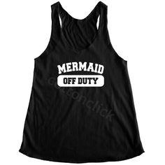 cottonclick Mermaid Off Duty Shirt Mermaid Shirt Funny Slogan Shirt... ($14) ❤ liked on Polyvore featuring tops, tanks, white, women's clothing, yoga tops, checkered shirt, checked shirt, checkered top and yoga shirt