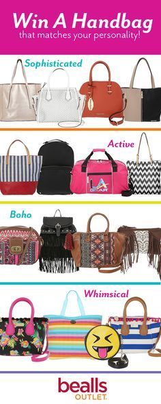 Everyone loves a good handbag. Whether it's the laser cut detail, fringe design,or studded construction, there is always something that makes us fall in love with them!  Now is your chance to win a handbag that matches your personal style. Here are the giveaway rules:  1. Follow Beallss Outlet on Pinterest 2. Repin this pin  We'll choose our contest winner on 5/6 and contact them via private message.   Good luck!