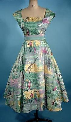 1960's RARE FONTANA, Roma Fabulous Printed Satin Dress with Original Satin Waistband