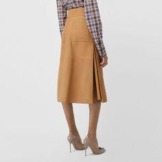 Falda de talle alto en piel de ovino (Caramelo) - Mujer  78416a97bf34