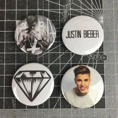 JUSTIN BIEBER BADGES by citystickrz on Etsy p.s. i want them so bad