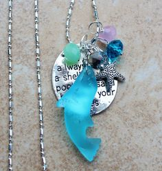Cutest Aqua seaglass Dolphin Necklace in Silver by InaraJewels