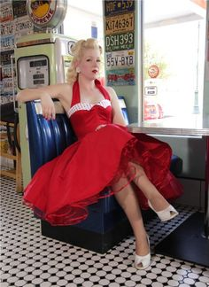 """Model Amanda, the Jitterbug Doll, wearing Classic Dame 50s style red """"Coquette"""" swing dress"""