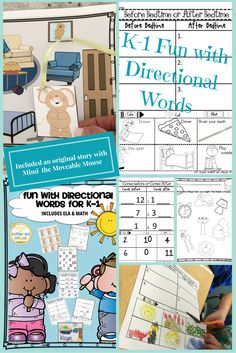 $5.00 #directionalwords #kindergartenfun Fun with Directional Words For K-1 INCLUDES ELA & MATH 73 pgs. This fun Directional Words resource was created for my daughter's kindergarten SpED class to encourage more practice with directional words. This was designed to be used with kindergarten, but it can also be used with any grade depending on the students' level and language needs. This resource can be easily differentiated for use.