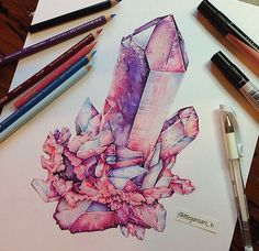 Crystal cluster coloured pencil drawing. Using pinks and purples to demonstrate light and dark space on the object. Soft smooth line work. More