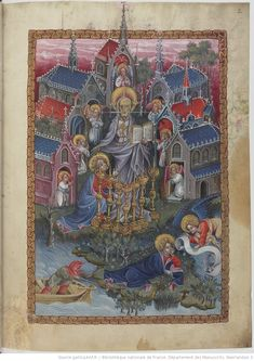 Apocalypse en néerlandais, Saint Jean et l'ange. John on Patmos. The vision of Christ and seven candlesticks and the seven churches of Asia circa 1400 Apocalypse, Book Of Hours, Blessed Virgin Mary, Bnf, Illuminated Manuscript, Candlesticks, Bohemian Rug, Christ, Asia