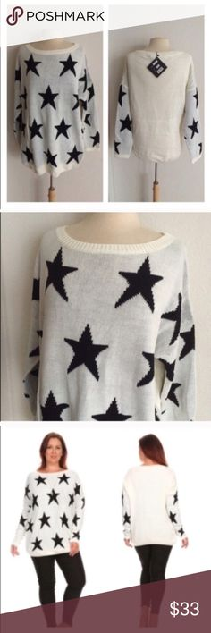 """❤(Plus) White star sweater Star sweater. 75% acrylic/ 25% nylon. Extremely soft and warm! These are not lightweight sweaters. Very TTS! I am a 2x and the 2x of this fits perfectly with a slightly oversized look.  1x: L 29"""" • B 50"""" 2x: L 29"""" • B 52"""" 3x: L 30"""" • B 54"""" ⭐️This item is brand new with manufacturers tags or in original packaging. 🚫NO TRADES 💲Price is firm unless bundled 💰Ask about bundle discounts Availability: 1x•2x•3x • 2•3•1 Sweaters Crew & Scoop Necks"""