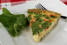 Goat Cheese Red Pepper Spinach Quiche in a Quinoa Crust - cityline Gf Recipes, Brunch Recipes, Healthy Recipes, Pizza Recipes, Spinach Quiche, Savory Tart, Healthy Eating, Healthy Life, Clean Eating