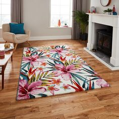 This creative design pink floral rug will make a spectacular statement to your room and provide the perfect focal point. Thick and cosy n texture it will make your room extra cosy and comfortable underfoot. Funky Rugs, Red Rugs, Machine Made Rugs, Floral Rug, Floral Design, Green Carpet, Living Styles, Pink Rug, White Rug
