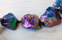 """Rainbow Mystic Titanium AB Quartz  Rough Nugget beads 20-30mm 7"""" half strand"""
