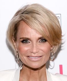 Kristin Chenoweth Hairstyle - Short Straight Formal - Light Blonde. Click on the image to try on this hairstyle and view styling steps!