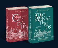 Diseño de las cubiertas de los libros de Miguel Sobrino: Catedrales y Monasterios. Dos tomos profusamente ilustrados por su autor y editados por La Esfera de los Libros.
