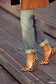 cuffed jeans + leopard heels. cute! Need to find myself a pair of leopard heels!
