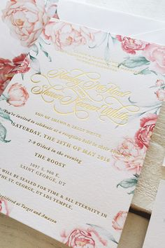 Foil & Ink | Fields of Peonies invitation suite with options of gold foiling and letterpress