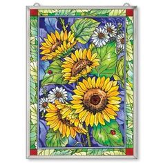 Window Décor Panel Features a Sunflower Design hand painted. Seasons by Design specialty shop, 2605 Ford Drive, New Holstein, WI 53061.       920-898-9081 Seasonsbydesigngifts@yahoo.com  Follow us on Facebook
