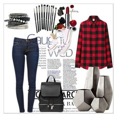 """""""Untitled #7"""" by milenazugic ❤ liked on Polyvore featuring Frame Denim, H&M, Uniqlo, Converse, COSTUME NATIONAL, Revolution, Clinique, Cyan Design and Bobbi Brown Cosmetics"""