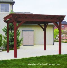 Solid Wood 12x14 Full Size Timber Framed Dovetailed Pergola Built Using Old World Craftsmanship Without The