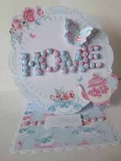 Easel card made with CWC afternoon tea papers, candi and candi pad.