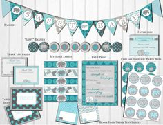 The Gray & Teal Elephant Baby Shower Printable Package includes: * Sweet Baby Flag Banner (each flag is approx 5 x 5 in) * Teal Baby Showers, Grey Baby Shower, Baby Shower Fall, Girl Shower, Baby Shower Decorations Neutral, Baby Shower Themes, Shower Ideas, Beautiful Baby Shower, Unique Baby Shower