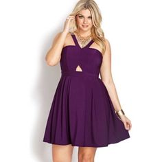 Cute purple dress! Opens in the front, flowy Forever 21 Dresses