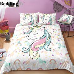 cool Stunning Bedding Set Design Ideas To Try Right Now Unicorn Bedroom Decor, Unicorn Rooms, Unicorn Bed Set, Unicorn Decor, Girl Room, Girls Bedroom, Mermaid Bedding, 3d Bedding Sets, Unique Bedding