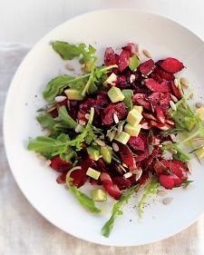 Prepare the beet slaw on the first day and refrigerate leftovers. Add greens, avocado, and seeds just before eating.