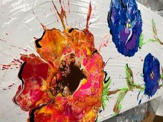Acrylic Paint Pouring: Create Flowers With a Blown Puddle Pour - YouTube