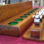 Antique 9 clip snooker cue rack, oak.B559. | Browns Antiques Billiards and Interiors.
