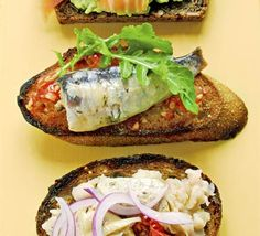 Sandwich RECIPES AND IMAGES | Open sandwiches - Tomato, sardine & rocket recipe - Recipes - BBC Good ...